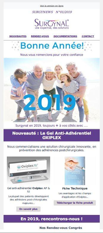 surgynews janvier, actualités surgynal, implants testiculaires, implant penien, oxiplex, gel anti adherentiel